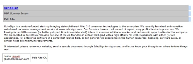The Haas career site job listing that led me to EchoSign's revolutionary product and amazing team.